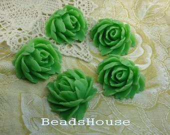 SALE - 10% OFF - 39-00-00-CA  4pcs Cabbage Rose Cabochon-Deep Green