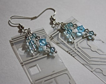 Upcycled Keyboard Inlay Blue Gray Skies, Swarovski Crystal, hypoallergenic Earrings, geekery, Computer Parts