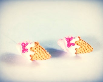Ice cream cone earrings, miniature food, post earrings, kawaii, geekery, hypoallergenic post for sensitive ears available