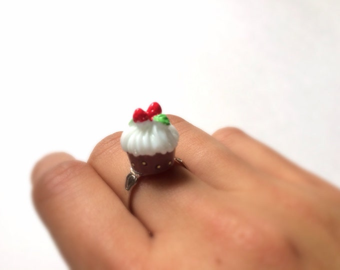Chocolate Cupcake Ring, kawaii, adjustable, miniature food, marie antoinette, anello, petit gâteau, magdalena