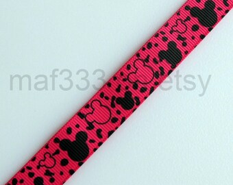 "A0063 - SEVEN (7) Yards Black Mouseheads on 5/8"" Shocking Pink Grosgrain Ribbon for scrapbooking, bowmaking"