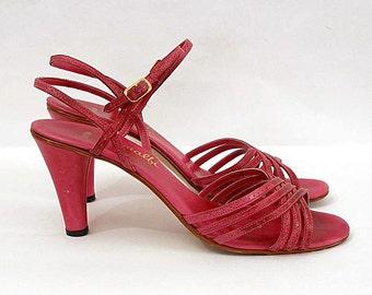 Vintage 1980s Sandal Heels Rose Pink Fuchsia Strappy High Heels / U.S. 8 8.5 N