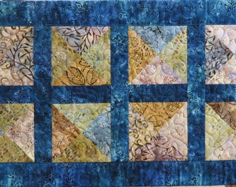 Handcrafted Quilted Batik table runner in blue and earthtones