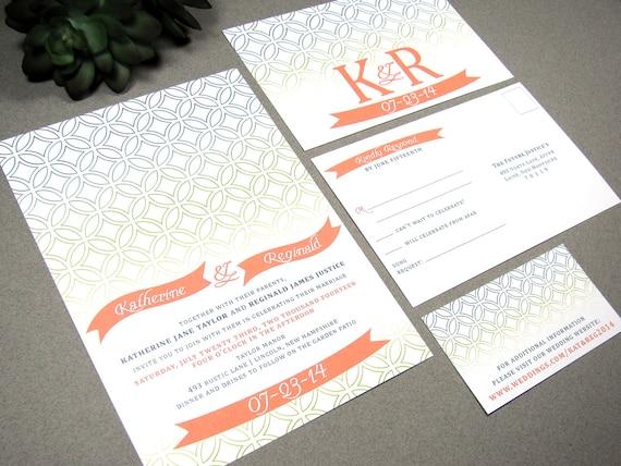 Ombre Wedding Invitation: Banner Wedding Invitations Rustic Invite Suite Modern Ombre