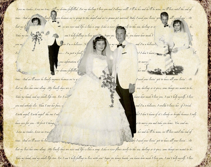 Parents Anniversary Gift Wedding Decoration Custom Personalized Wedding Vows Song Lyrics Photo Gift Canvas 16x20