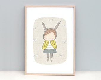 Childrens Wall Art - Animal Wall Art - Bunny Rabbit with Yellow Coat - Art Print 8x10 or A4 Children's Room