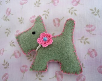 Scottie Dog Brooch- Made from Felted Vintage Blanket