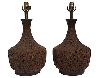 Pair of Vintage Hollywood Regency Mid Century Modern Large Round Cork Lamps