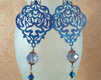 Gypsy Cowgirl Earrings -  Blue Finished Brass Filigree with Chinese Crystals