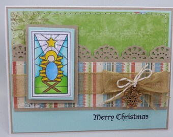 Christmas Stained Glass Manger - Blank NoteCard, Greetings Card, Handmade Card