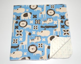 30% OFF Animals baby boy soft blanket, small color flaw on flannel fabric, giraffes, elephants, warm flannel and minky dot newborn blanket