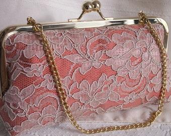Handmade silk, lace clutch handbag. Peach, coral, cream. PEACHES AND CREAM by Lella Rae on Etsy