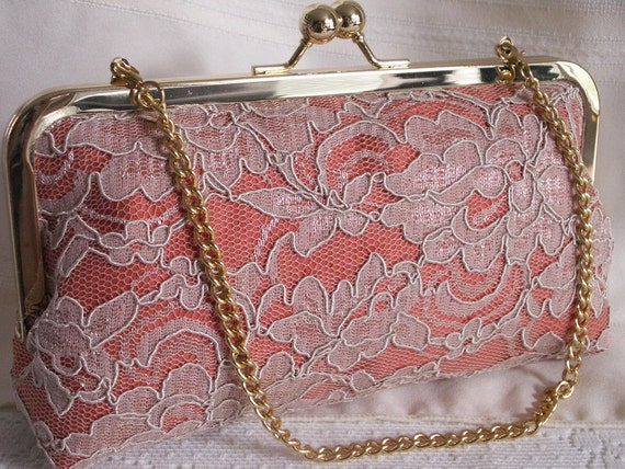 Handmade silk, lace clutch handbag. Peach, coral, cream. PEACHES AND CREAM by Lella Rae on Etsy