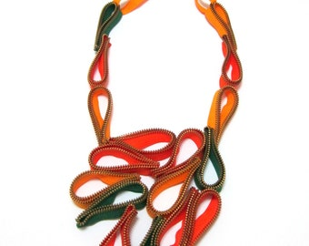 Fruits Orchard - Textile Zippers Statement Handmade Colored Necklace