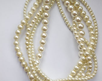 twisted pearl necklace custom order necklaces braided Cream ivory chunky statement pearl necklace