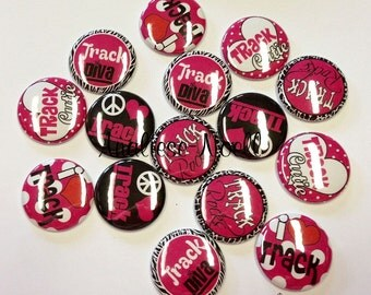 "Hot Pink and Black Track 1"" Buttons Flat Back (15 Buttons) Sale for this listing only, Track, Track Party Favors, Track Party, Track Buttons"