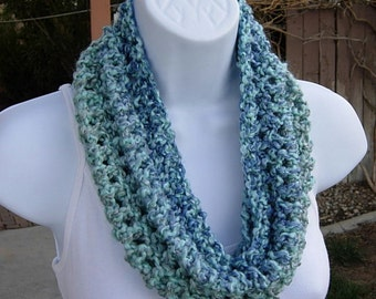 SUMMER COWL SCARF..Light Blue, Medium Blue, & Gray Grey, Small Short Infinity Loop, Crochet Knit, Soft Neck Warmer..Large Size Available