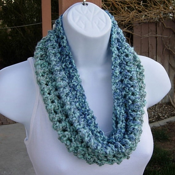 SUMMER COWL SCARF Light Blue Medium Blue Gray Grey by MicheleMade