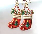 Red Christmas Stocking Earrings 14K Gold Fill Christmas Earrings Christmas Gift Idea Holiday Jewelry