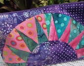 New York Beauty Zippered Pouch, Large, Purple Polka Dot