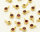 SV-114-GD / 2 Pcs - New Tiny Round CZ Charms (Ruby), 16K Gold Plated over 925 Sterling Silver / 3.6mm x 5.6mm