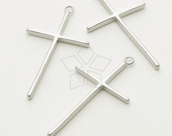 PD-696-MS / 2 Pcs - Skinny Cross Pendant, Matte Silver Plated over Brass / 16mm x 29mm