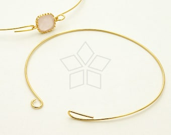 BR-006-GD / 2 Pcs - Wire Bangle, Charm Bracelet with hook and loop closure, 16K Gold Plated over Brass / 20 gauge (0.8mm)