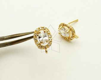 SI-583-GD / 2 Pcs - Single Halo CZ Oval Stud Earrings, 16K Gold Plated, with .925 Sterling Silver Post / 7.5mm x 11mm