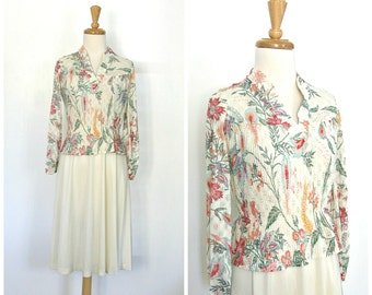 1970s Dress - secretary dress - floral dress - long sleeve - knee length - career dress -S M