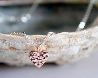 Tiny Heart Rose Gold Necklace, Hammered Heart, Sterling Silver Pendant Necklace, Rose Gold Heart