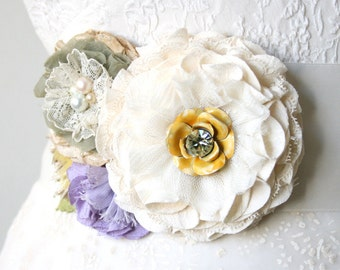 Floral Wedding Dress Sash, Bridal Belt with Ivory, Purple, and Yellow Fabric Flowers, Belts and Sashes, Bridal Brooch, Colorful Sash