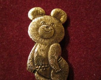 "Vintage USSR CCCP  Olympics Game Moscow 1980 Collectible Badge Pin   "" Mishka """