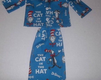 """The cat in the hat 2 piece pajamas fit 18"""" American girl dolls"""