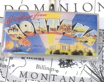 Greetings from MONTANA Vintage Large Letter Postcard Pendant Necklace