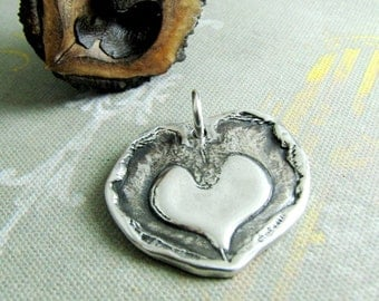 Pure Silver Heart Pendant, Pressed From Walnut Shell, Artisan Original, Handmade by SilverWishes