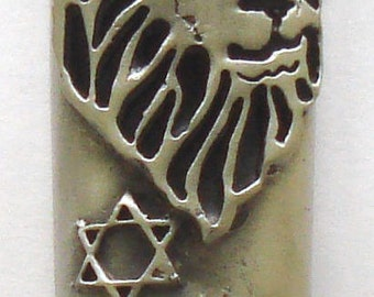 Pewter Mezuzah - lion of Judah - Ten Commandments decorated with Topaz Swarovski Crystals -Come With A Kosher Scroll