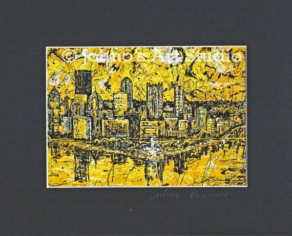 Wall Art Black Gold : Pittsburgh skyline wall art black n gold by johnosartstudio