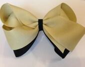 UCF/New Orleans Saints/Vanderbilt -DOUBLE LAYER- Large 4-Inch Boutique Hair Bow