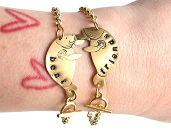 personalized bracelets - best friends manatee bracelet set - brass custom bff jewelry - best friend gift