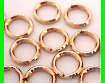 30x 5mm strong hard 14k yellow gold filled split rings charm connector jump ring Gr35