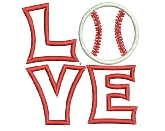 Baseball Applique Machine Embroidery Designs - 3 Sizes - Instant Download