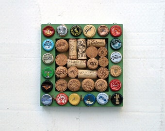 Beer Cap & Wine Cork Board Key Hanger - Green Square