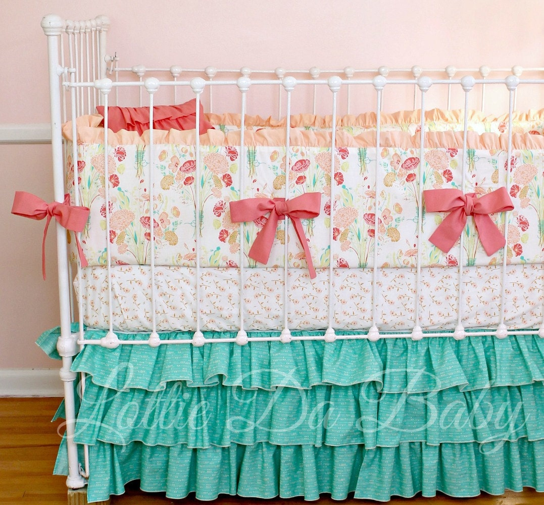 Baby Girl Crib Bedding Set Reminisce Jade by LottieDaBaby ...