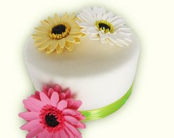 edible sugar gerbera daisies color of your choice set of 3