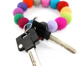 felt balls key chain natural wool multicolor felt balls