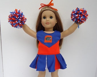 University of Florida Gators Cheerleader,shoes,pompoms for American Girl Doll