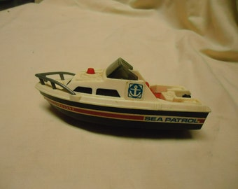 Vintage 1978 Sea Patrol Boat by Tomy, plastic, collectable, made in Taiwan, toy