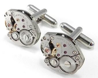 STEAMPUNK CUFFLINKS, Vintage Watch Movement Cuff Links, SOLDERED - Steampunk Jewelry by Compass Rose Design