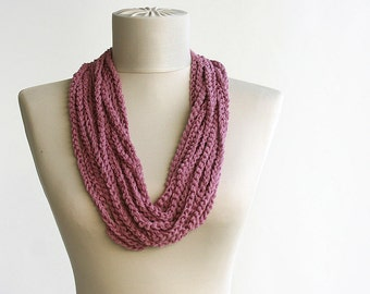 Summer Scarf  Old rose Orchid skinny scarf Infinity scarf necklace spring summer fashion vegan