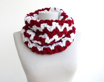 Cowl scarf tube scarf crochet cowl red chevron scarf womens scarves for woman chunky scarf christmas gift idea for her fall fashion scarves